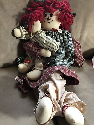 """Primitive` Handmade Raggedy Ann Doll and her Gingerbread Man` 19 /"""""""