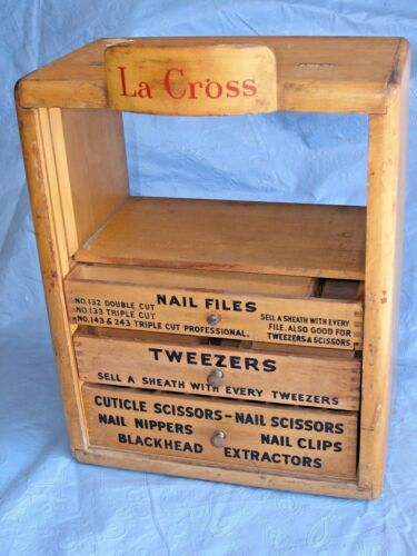 Antique Very Early La Cross Apothecary Clippers Tweezers Scissors Wood Cabinet