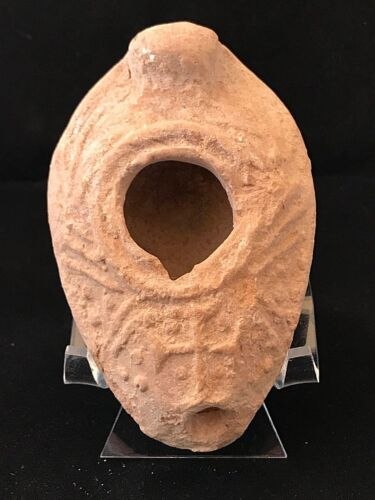 ANCIENT BYZANTINE OIL LAMP WITH A CROSS; HOLY LAND 300 - 500 A.D. SCARCE