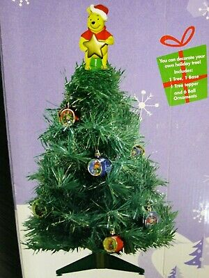 DISNEY WINNIE the POOH Friends CHRISTMAS Holiday Tree with Ornaments/Topper Box