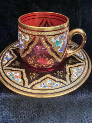 Antique Bohemian MOSER Cranberry Glass Hand Painted Gilt Enamel Cup & Saucer