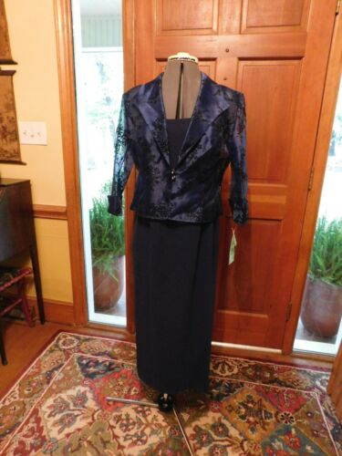 BEAUTIFUL NAVY BLUE MOTHER OR SPECIAL OCCASION 2-PIECE FORMAL DRESS & JACKET S8P