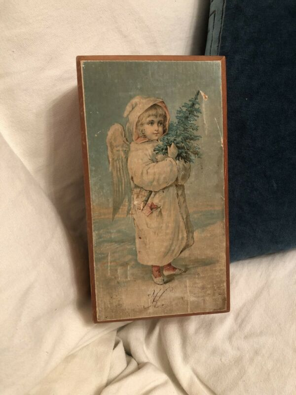 Rare Antique Victorian German Snow Child Christmas Box With Lithograph Lid