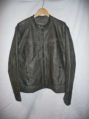 Mens GUESS GREY FAUX LEATHER JACKET Size XL