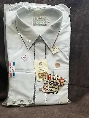VTG 70 NOS NIP CHAMPION WESTERN COWBOY EMBROIDERED SOLID PEARL SNAP BUTTON SHIRT