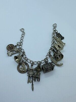 Vintage Sterling Silver Charm Bracelet 12 Antique Charms German Cuckoo Clock