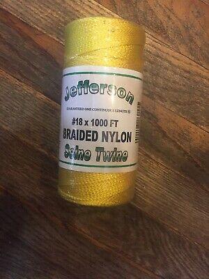 Box of 12 Rolls Neon Yellow Jefferson 18# X 1000 FT. Braided Nylon Seine Twine.