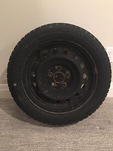 4 Snow tires 205/55R16 with steel rims, Michelin Primacy Alpin