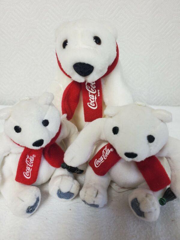 Vintage Coca-Cola Polar Bear Plush 3 Bears 1 Mama 2Cubs