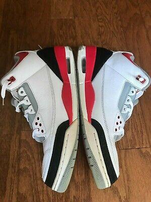 2013 -- NIKE - Air Jordan Retro 3 - Silver / Fire Red - 136064-120 ( Men Sz 13 )