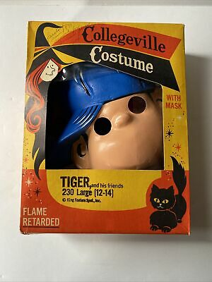Vintage Halloween Mask Costume And Box Tiger WB 1970 Collegeville