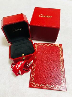 Cartier Ring Box Case Empty Red Black Display Presentation Ribbon Authentic T3