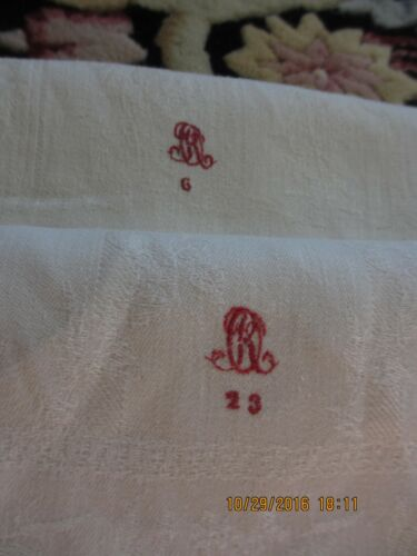 "(2) VTG. 1923 FRENCH LINEN DAMASK XL TOWELS RED MONOGRAM ""R"" 19"" X 48.5"" EUC"