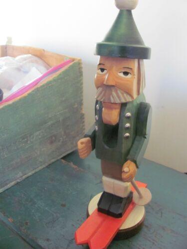 Vintage East German Wood Nutcracker, Skier Figure