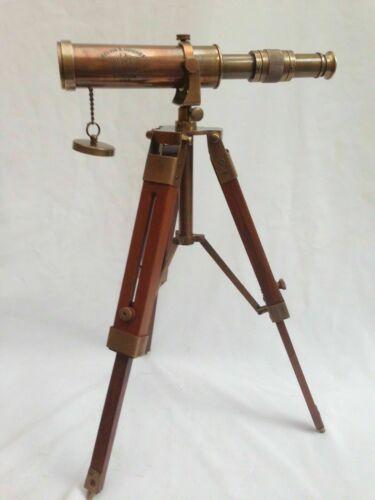 Nautical Marine Spyglass Brass Telescope With Wooden Tripod Stand Replica gift