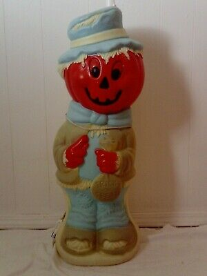 "Vintage 35"" Scarecrow with Pumpkin Head & Trick or Treat Bag Halloween Blow Mold"