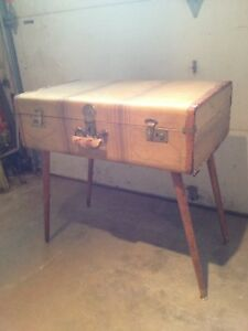 Vintage suitcase end table