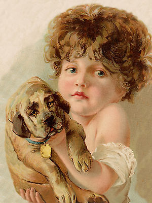 MASTIFF LITTLE GIRL HOLDS PUPPY CHARMING IMAGE ON DOG GREETINGS NOTE CARD