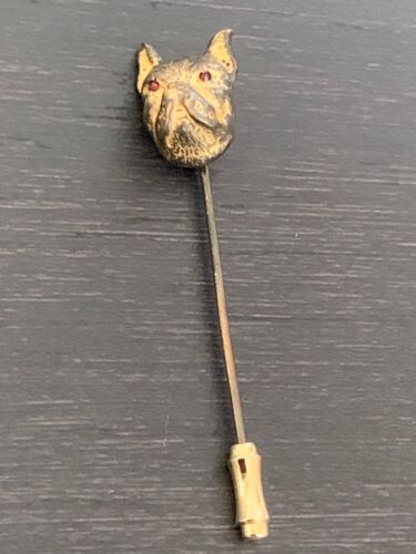 VINTAGE  BOXER HEAD STICK PIN WITH RED RHINESTONE EYES