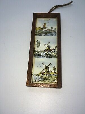 Wall hanging Dutch Tile Plaque windmill Amsterdam vintage framed Tulips Holland