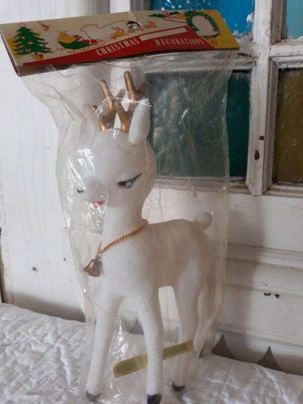 New Vintage Plastic Flocked Chrismas  Reindeer Hong Kong Sleepy Eye BLUE EYES