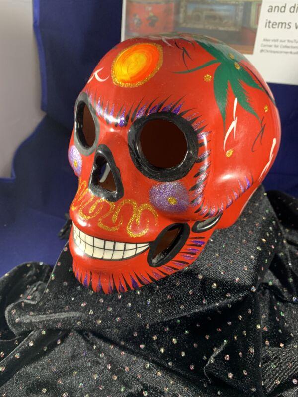 Day Of the Dead Los Muertas Hand Painted Ceramic Multicolor Sugar Skull Mexico