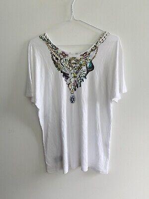 Tom Binns and John Eshaya T-shirt Top 100% Rayon Jewellery Print One Size