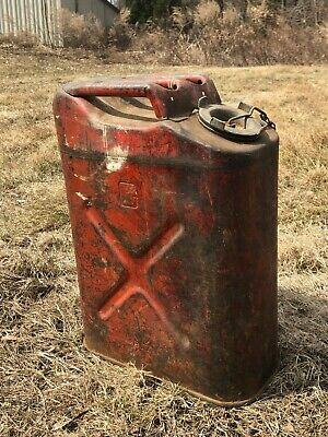 Vintage Red Metal Gasoline 5 Gallon Jerry Can BLITZ USMC Military  -