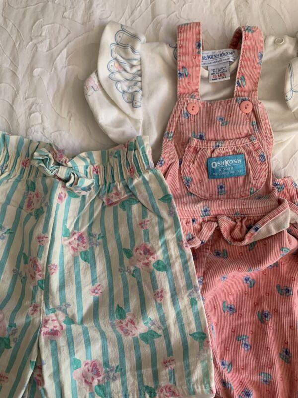 Vintage Oshkosh USA Pink Floral Cord Overalls Flutter Sleeve Paperbag Shorts