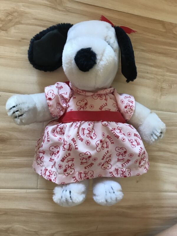 """Snoopy Peanuts """"Belle"""" Plush Stuffed Animal Dog Pink Dress Preowned"""