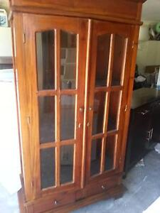 SOLID TIMBER DISPLAY CABINET /BOOKCASE WITH GLASS DOOR /2 DRAWERS Murrumba Downs Pine Rivers Area Preview