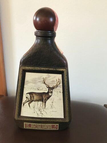 Vintage James. B. Jim Beam Kentucky Bourbon Faux Brown Leather w Buck Deer Glass