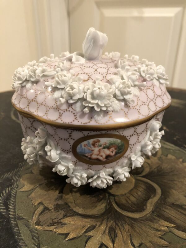 Antique Carl Thieme Dresden Germany Cherub & Floral Covered Dish/Bowl~Circa 1902