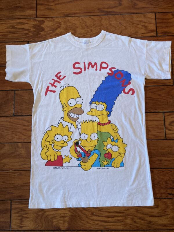 Vintage Simpsons Family Flirts Sleep Night Pajamas T-shirt 1990 Homer Marge Bart