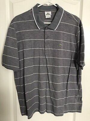 Men Lacoste Polo Gray Croc Logo Polo Golf Shirt Size 8 Vintage Retro