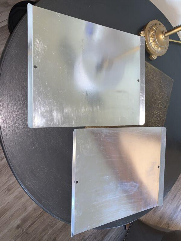 "Set Of 2 Mirro Aluminum Cookie Sheet Bakeware 15""x12"" Turned Up Edges 2-Hole USA"
