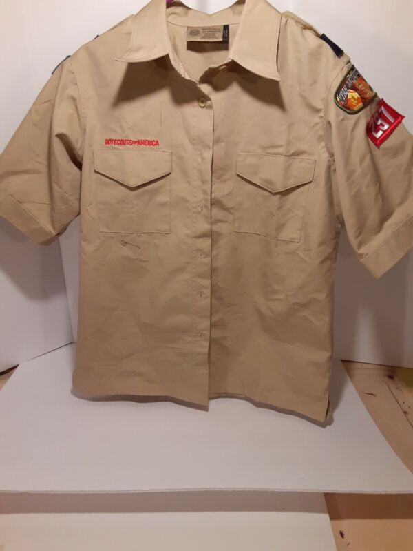 Official Boy Scouts Of America Tan Shirt Short Sleeve Ladies Medium