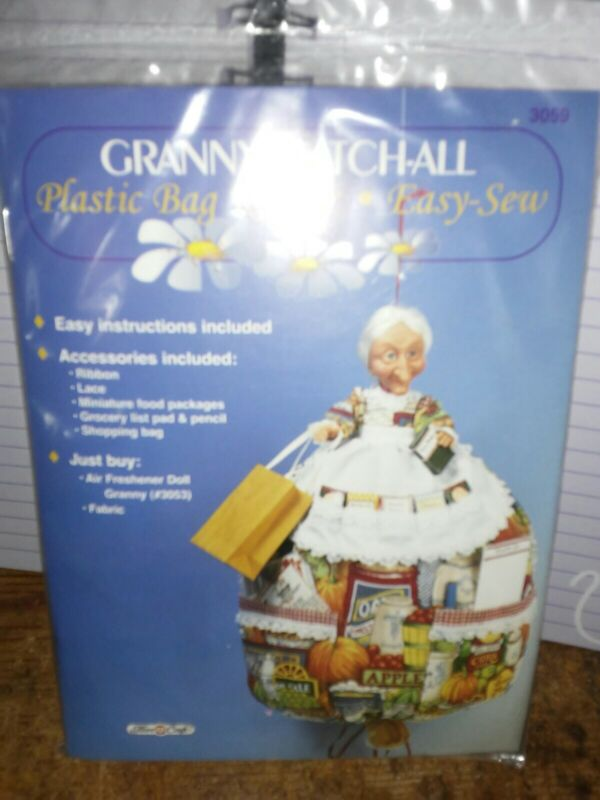 Granny Catch-all Plastic Bag Keeper Easy-sew Pattern Kit