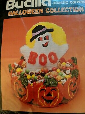 Vintage1990 Bucilla 6035 Halloween Collection Ghost Boo Basket Treat Candy Dish