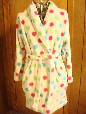Womens S Adonna LS White w Multi Dot Short Fleece Robe