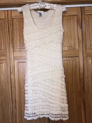 Max Studio Womens S Lined Lace Shift Stretch Bodycon Dress Sleeveless Ivory