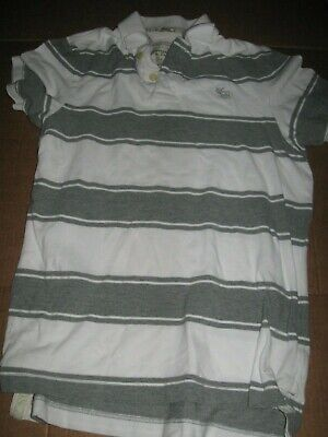 "Abercrombie & Fitch gray white striped polo shirt L mens 44"" chest A&F"