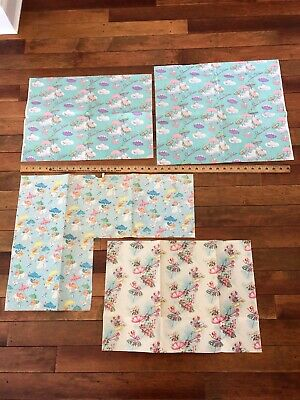 Vintage USA made baby shower gift wrap wrapping paper babies floral sheets](Baby Shower Gift Wrapping Paper)