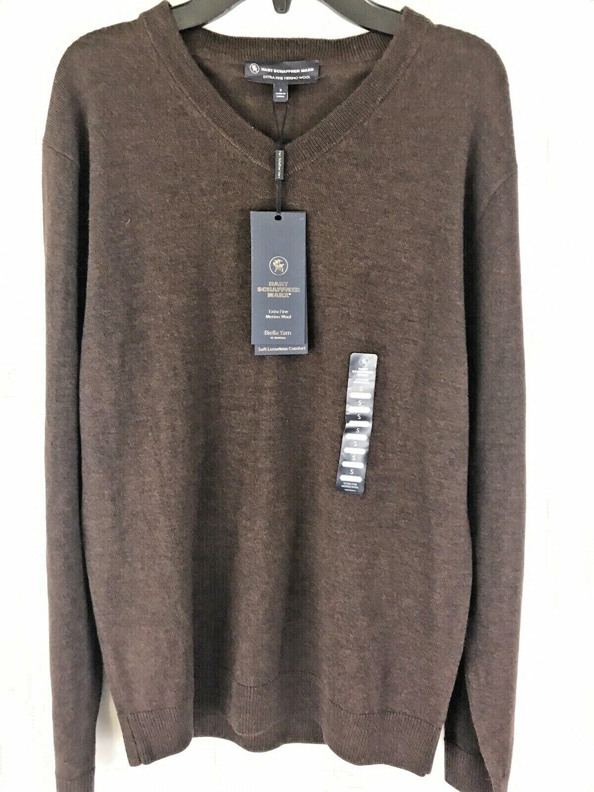 $89 Hart Schaffner Marx V-Neck Sweater Brown Small Biella Yarn Wool Pullover Clothing, Shoes & Accessories