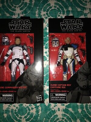 New Star Wars Black Series 6 Inch Clone Commander Wolffe and Captain Rex Lot of2