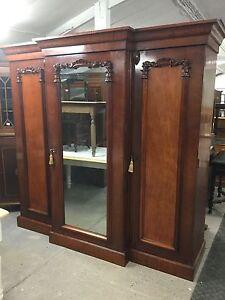 Antique Victorian Mahogany Break Front Compactum Wardrobe