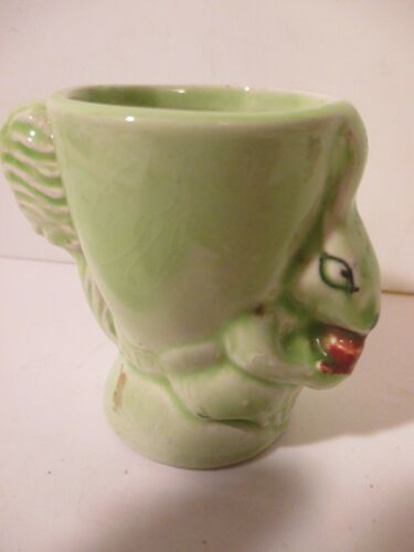 Vintage Royal Art Pottery Egg Cup Bunny Green  Squirrel with Nut England