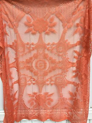 """Vintage Orange All Lace Square Tablecloth 50""""x 56"""" Fall Halloween"""