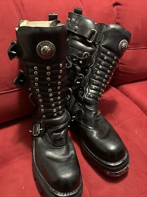 New Rock Reactor Tall Black boots Size 48C EUR *Missing Lace *No Returns Used