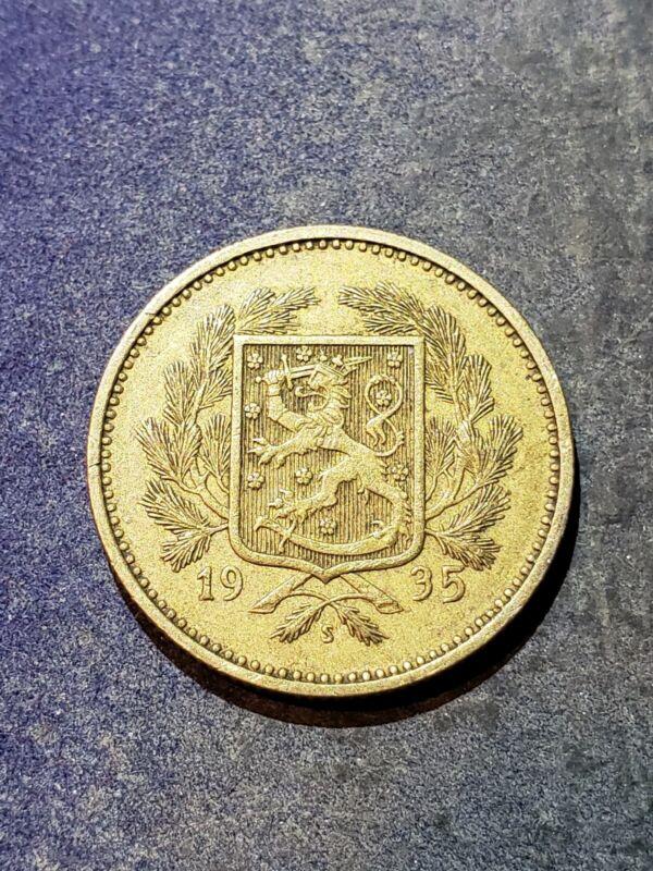 1935 FINLAND 5 MARKKA - Rare Date Coin -